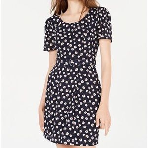 Belted puff sleeve dress
